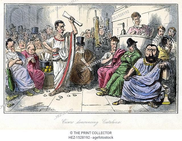 'Cicero denouncing Cataline', 1850s. Scene from The Comic History of Rome by Gilbert Abbott A Beckett