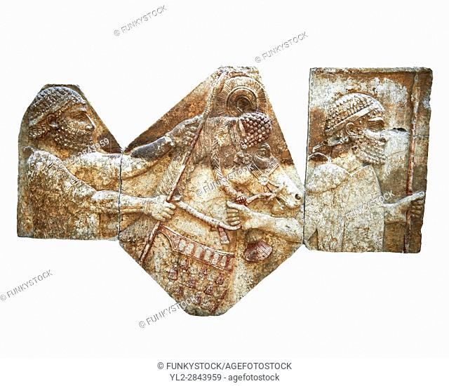 Stone relief sculptured panel of tributaries. From corridor 10, Inv AO 1433/19899/19895 from Dur Sharrukin the palace of Assyrian king Sargon II at Khorsabad