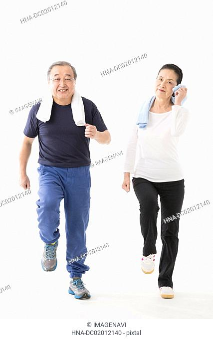 Senior couple enjoying sports