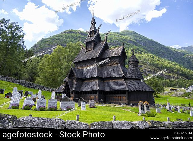 Borgund Stave Church and cemetery, Romanesque church from c. 1180, Vestland, Norway, Europe