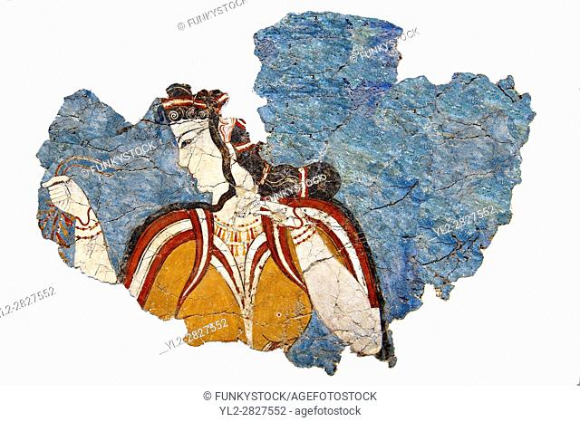 Mycenaean Fresco wall painting from the Mycenae , Greece. 14th - 13th Century BC. Athens Archaeological Museum