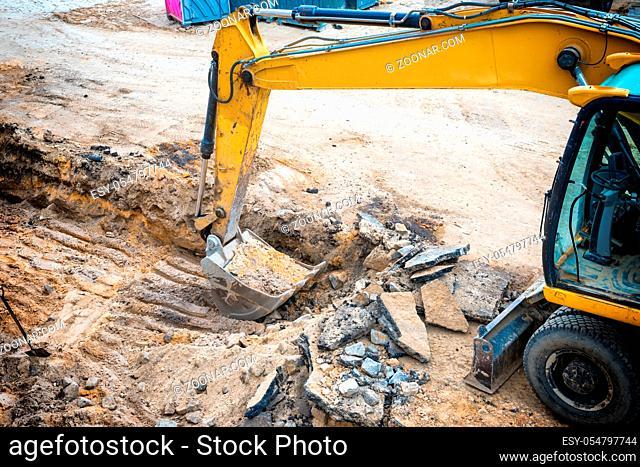 Bulldozer at construction site area building a road