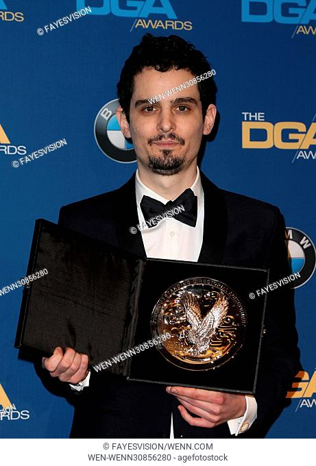 The 69th Annual Director Guild Awards held at the Beverly Hilton - Press Room Featuring: Damien Chazelle Where: Beverly Hills, California