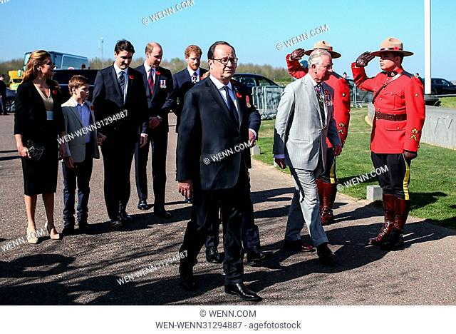 The Prince of Wales, The Duke of Cambridge and Prince Harry attend the Centenary of the Battle of Vimy Ridge Featuring: Prince Charles, The Prince of Wales