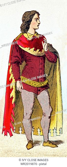 The figure represented is an Englishman between A.D. 1300 and 1400. The illustration dates to 1882