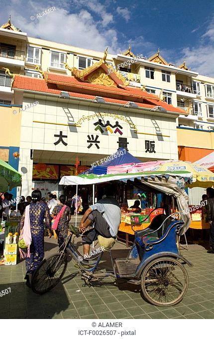 China, Yunnan, Xishuangbanna, Menghai, rickshaw