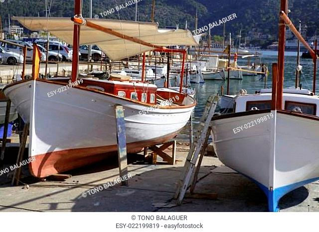 Mallorca Soller port harbor with wooden boats