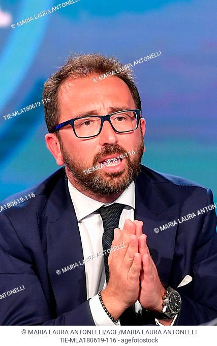 Italian Minister of Justice Alfonso Bonafede during the tv show Porta a porta, Rome, ITALY-18-06-2019
