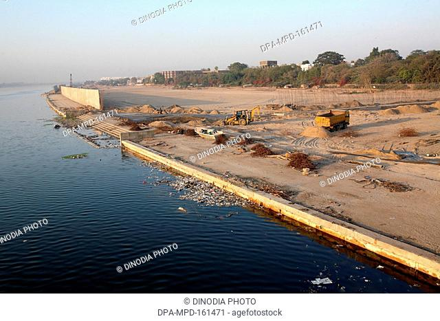 Some developments are seen happening on banks of Sabarmati river in Ahmedabad ; Gujarat ; India