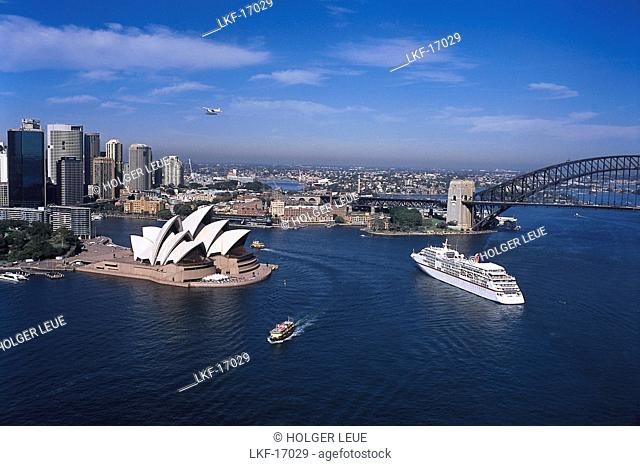 Cruiser ship MS Europa, Aerial view of Sydney, New South Wales, Australia