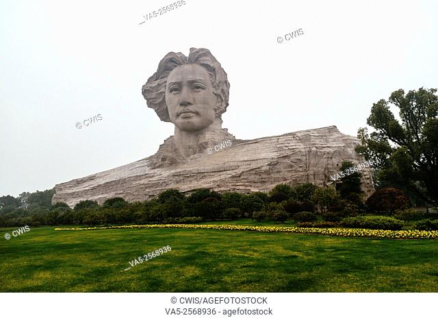 Changsha, Hunan province, China - The view of the statue of Mao Zedong on the Orange Island