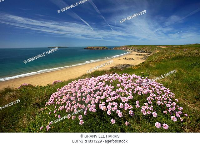 The wide sandy beach at Marloes from the Pembrokeshire Coastal Path