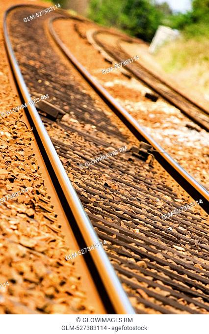 High angle view of a railroad track, Loire Valley, France
