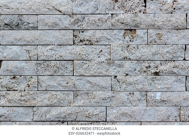 Wall of bricks in Vulcanic Stone, useful for background