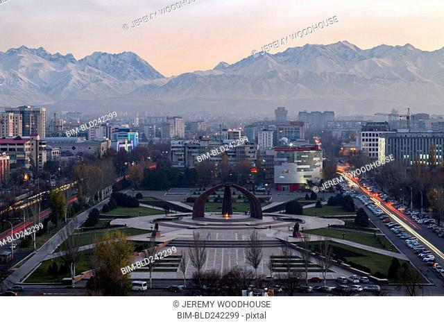 Victory Square near Kyrgyz Range at dusk, Bishkek, Frunze, Kyrgyzstan