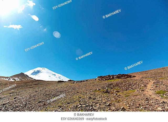 alpine landscape with views of Mount Elbrus