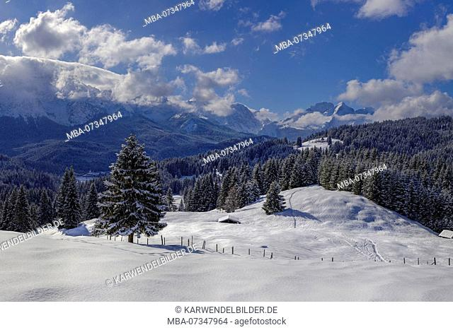 Germany, Upper Bavaria, winter landscape with Wetterstein mountains near Elmau