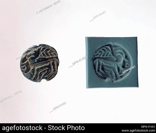 Stamp seal and modern impression: horned animal and bird. Period: Ubaid; Date: 6th-5th millennium B.C; Geography: Syria or Anatolia; Medium: Steatite or...