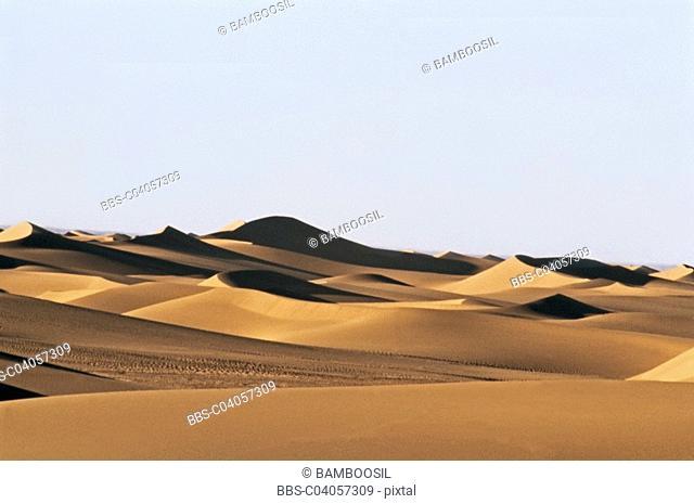 Sand dunes in Erjina desert, Ejinaqi, Inner Mongolia Autonomous Region of People's Republic of China