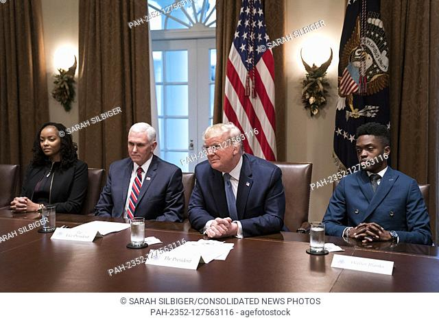 Vice President Mike Pence, United States President Donald J. Trump and students participate in a round table meeting on education in the Cabinet Room of the...