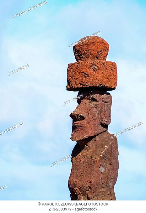 Modern Moai in Hanga Roa, Easter Island, Chile