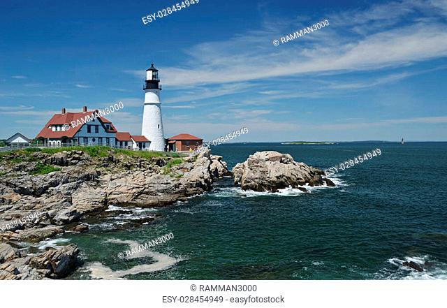 The Portland Head Lighthouse located in Cape Elizabeth, Maine near Portland, Maine