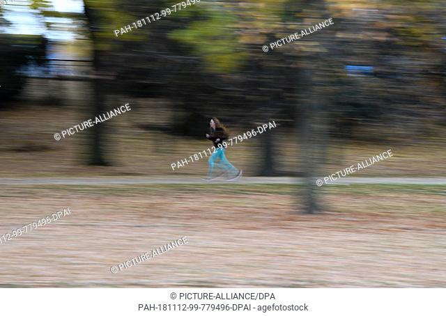 12 November 2018, Hessen, Frankfurt/Main: In pleasant autumn weather, a jogger is on her way in Frankfurt's Ostpark on a path lined with fallen autumn leaves