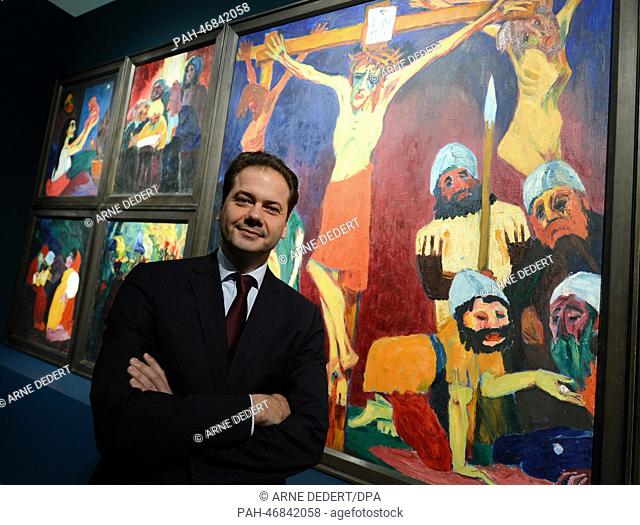 Staedel director Max Hollein stands in front of Emil Nolde's masterpiece 'The life of Christ (1911/12)' in the Staedel Museum in Frankfurt Main, Germany