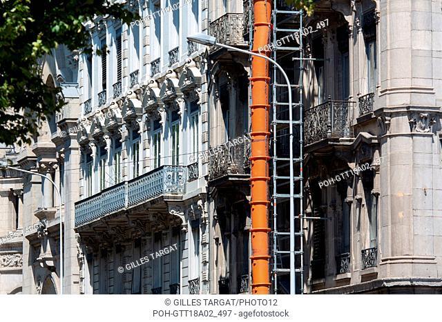 France, Région Rhône Alpes Auvergne, Rhône, Lyon, travaux sur un immeuble Photo Gilles Targat