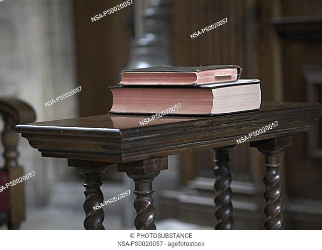 Prayer books in a church
