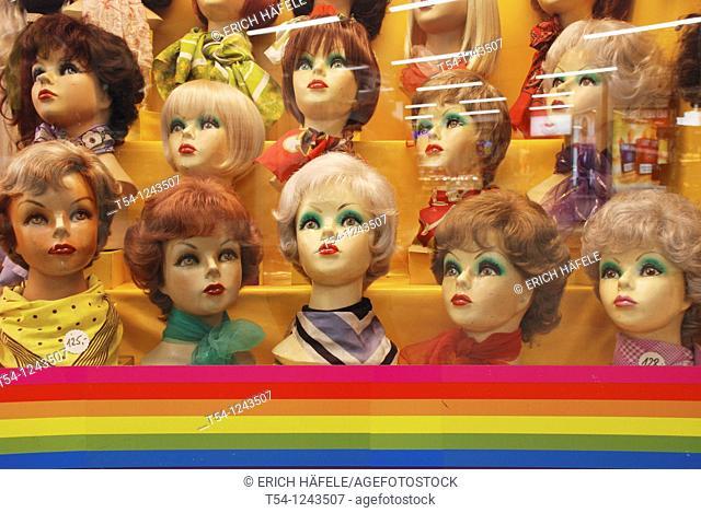 Doll heads in a shop window
