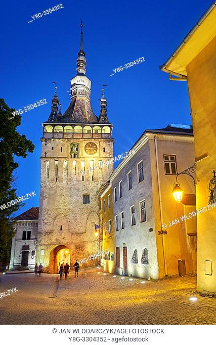 Clock Tower, old town Sighisoara at evening, Transylvania, Romania