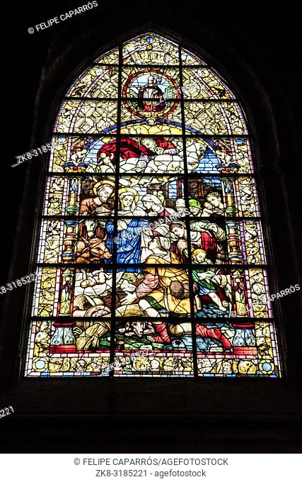 Sevilla, SPAIN - September 9, 2017: Stained glass window of the adoration of the shepherds, located in the chapel of San Jose, dates back to the year 1932