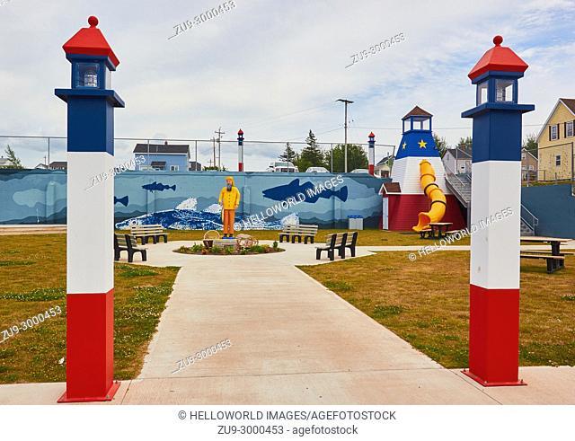 Fish themed playground, Cheticamp, Cape Breton Island, Nova Scotia, Canada. . Cheticamp is a small fishing community on the west coast of Cape Breton Island