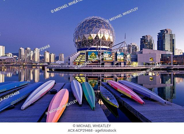 Dragon boats near Telus Science World, Vancouver, British Columbia, Canada
