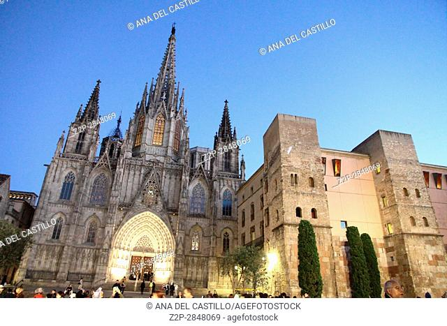 BARCELONA SPAIN-NOVEMBER 18: Old architecture in the gothic quarter on Nov 18, 2014 in Barcelona Spain. Cathedral by night
