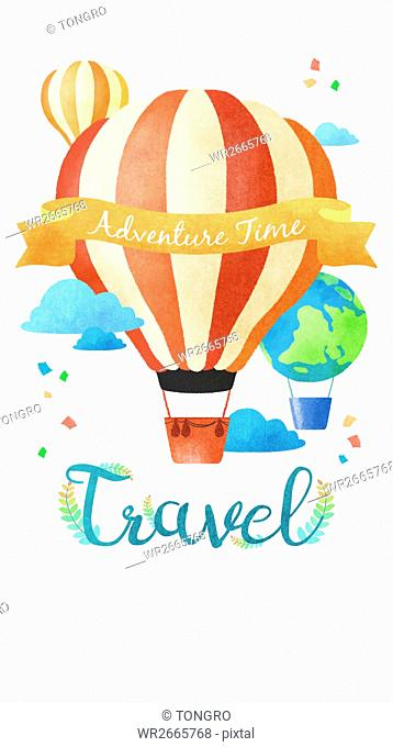 Air hot balloons representing travel