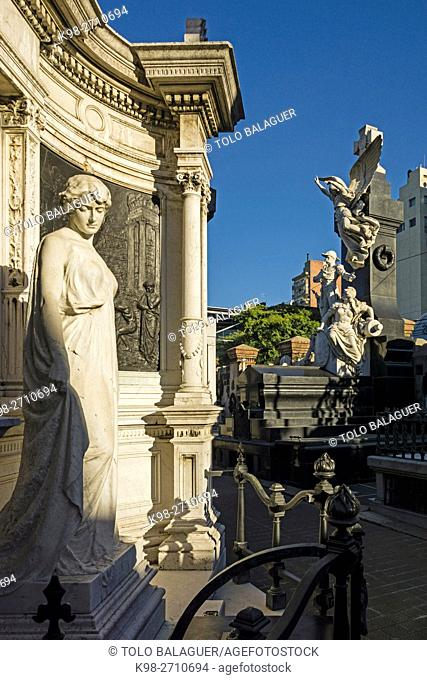 La Recoleta Cemetery designed in 1822 by French civil engineer Próspero Catelin and built under the responsibility of government minister Bernardino Rivadavia