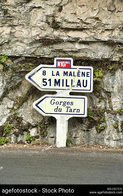 road sign near Saint-Chely du Tarn and Tarn Gorge, Lozere Department, Occitanie, France