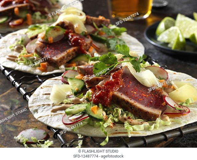Ahi and pickled ginger tacos