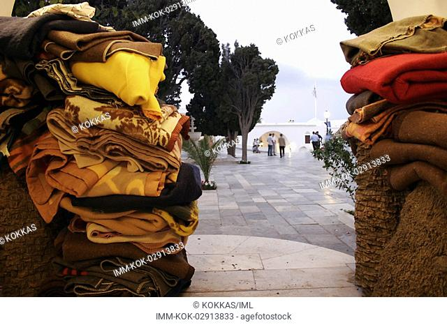 Blankets at the church Tinos, Cyclades, Greece
