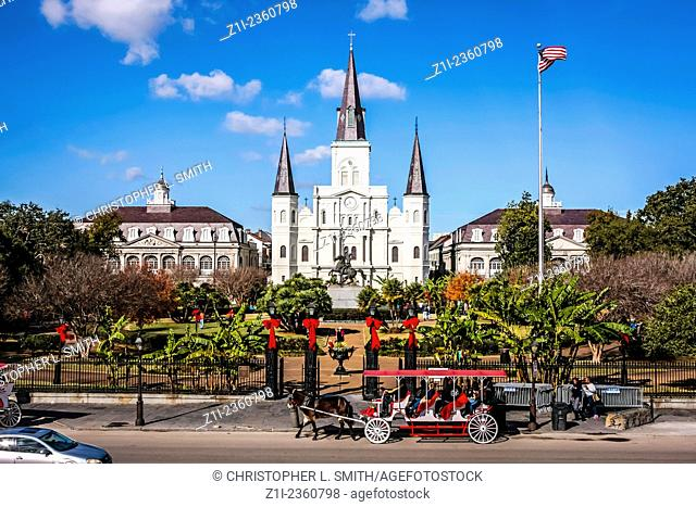 St Louis Cathedral on the north side of Jackson Square in New Orleans LA