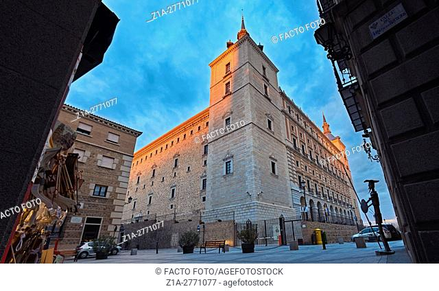The Alcazar of Toledo, a stone fortification located in the highest part of town. Toledo. Spain