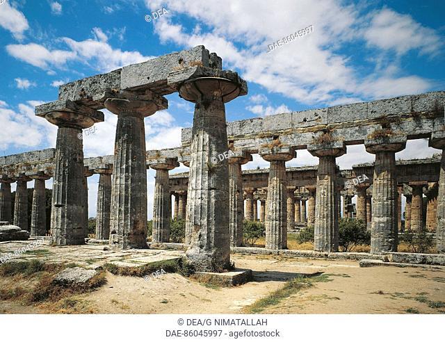 Italy - Campania Region - Paestum, province of Salerno, (UNESCO World Heritage Site, 1998). Doric Temple of Hera II (Temple of Neptune), about 460 BC