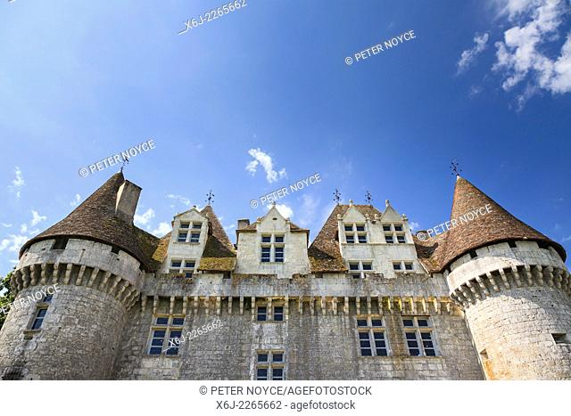 Looking up at the towers of the Chateau de Monbazillac France