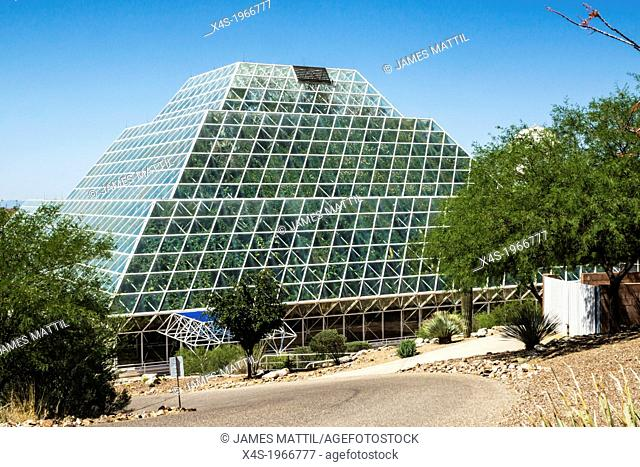The huge glass Biosphere2 greenhouse near Oracle, Arizona USAis used to study the potential for space colonization