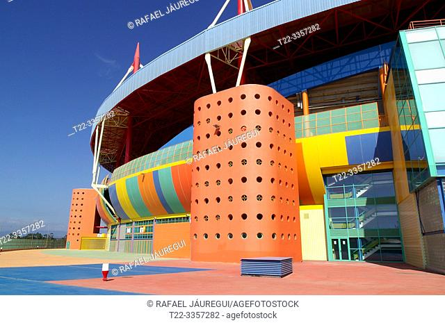 Aveiro (District of Aveiro) Portugal. Architectural detail of the exterior of the Novo Municipal Stadium Mario Duarte in the city of Aveiro