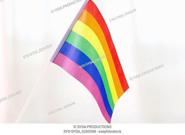 close up of gay pride rainbow flag