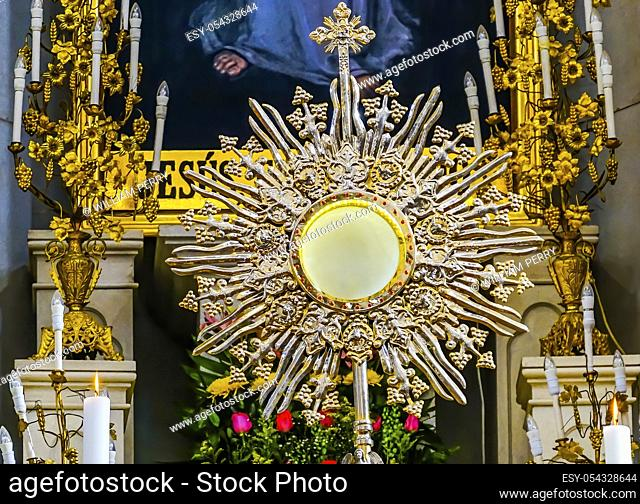 Basilica Golden Monstrance Cathedral Puebla Mexico. Built in 15 to 1600s. Monstrance holds consecrated wafer, body of christ or saint relics