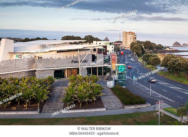 New Zealand, North Island, New Plymouth, Puke Ariki, Maori museum, elevated view